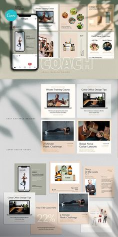 COACH - Canva Instagram Template  Instagram Canva Template for coaches, teachers, food bloggers, podcasters, personal trainers, nutrition experts and entrepreneurs. Featuring eye-candy minimalistic template designs to get your audience and sell your digital offers and courses.