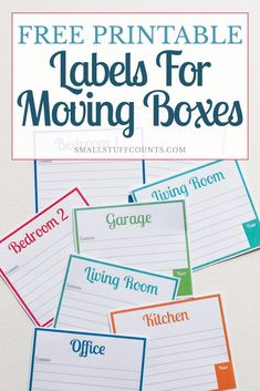 Free Printable Labels For Moving Boxes : Finally, some pretty labels for moving boxes! These free printable labels will be a HUGE help in organizing our upcoming move. Moving List, Moving House Tips, Moving Day, Moving Hacks, Moving House Checklist, Organizing For A Move, Organizing Labels, Printable Organization, Organising