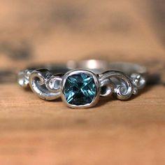 Tourmaline engagement ring blue tourmaline ring by StephanieMaslow