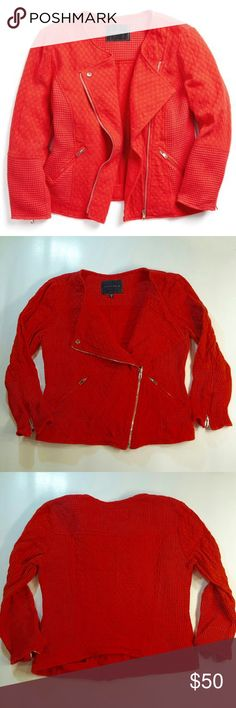 Sanctuary Red Moto Jacket Cozy meets tough with this great knit moto jacket from Sanctuary. Lots of great details from zippers to textures. Red with a touch of orange in color. In great used condition. Make me an offer. Discounts on bundles of two or more. Sanctuary Jackets & Coats