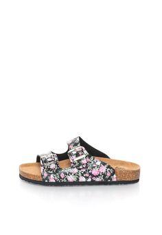 Papuci negru si roz cu model floral - Australian - www.iconly.ro