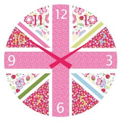Pink Union Jack Clock - A floral take on the classic Union Jack design!