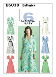 B5030 | Butterick Patterns  -  Flared, wrap dress, below mid-knee has semi-fitted bodice, front band or collar, sleeve variations. A, B, C: Shoulder yokes with gathering, bands. A: Three-quarter sleeves, contrast bands and belt. B, E: Long sleeves. B, F: Purchased belt. C, D: Self-fabric belts. C, F: Flutter sleeves. D, E, F: Collar. E: Cuffs and single layered sash.