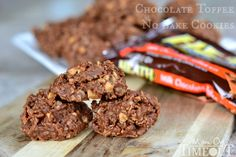 Chocolate Toffee No Bake Cookies | MomOnTimeout.com. Ingredients: sugar, Karo light corn syrup, chocolate chips, peanut butter, quick oats, coconut, Heath toffee bits