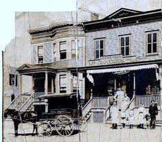 August & Marie Huth and Family and Store, Rowland Street, Westchester Square, The Bronx, New York City, 1900.