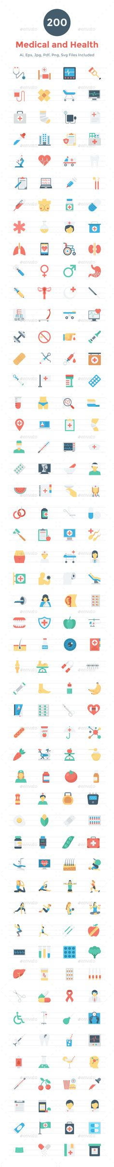 200 Flat Medical and Health Icons Vector EPS, AI Illustrator