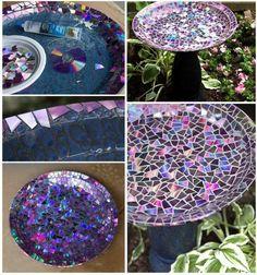 fontaine de jardin décorée de morceaux multicolores de CD cassé