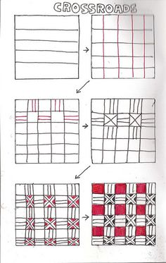 Life Imitates Doodles: Crossroads: Non-official Zentangle/ZIA pattern Tangle Doodle, Tangle Art, Zen Doodle, Doodle Art, Doodle Designs, Doodle Patterns, Zentangle Patterns, Doodle Borders, Zentangle Drawings