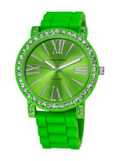 Women's Oversized Green & Crystal Watch by Vernier Watches at Gilt