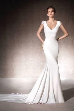 2017 V Neck Short Sleeves Wedding Dresses Spandex With Beading US$ 219.99 LDPBBCSRJ8 - LovingsDresses.com for mobile