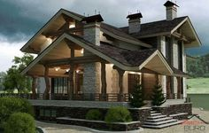 The house is in a chalet-style - the project of architect Alexey Sukhov D House, Facade House, Farm House, Modern Villa Design, Modern Farmhouse Exterior, Farmhouse Ideas, Bungalow House Design, Contemporary House Plans, Cottage Style Homes