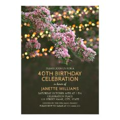 Tree Blossom Lights Rustic Floral 40th Birthday Card - birthday cards invitations party diy personalize customize celebration
