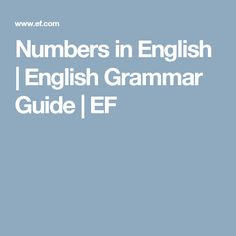 Numbers in English | English Grammar Guide | EF