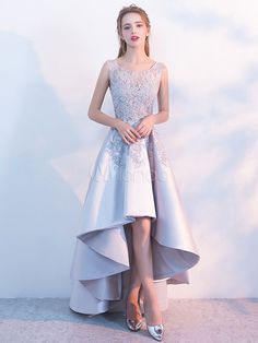Women s Elegant Asymmetrical Satin Evening Party Prom Dress With Lace Bodice 4662b3a69