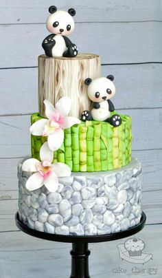 Such cuteness! Panda Zen Garden Bamboo Orchid Pebbles Wedding Cake by Cake Therapy