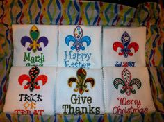 Teacher Gift Idea - Fleur De Lis Dish Towels for each Holiday.  Mardi Gras, Easter, 4th of July, Halloween, Thanksgiving and Christmas