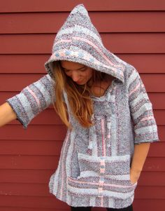 Baja Woven Mexican Babydoll Bell Sleeve Hoodie Hooded Pullover Jacket ...
