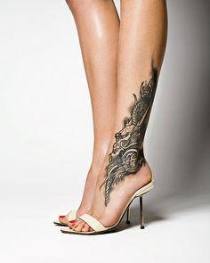 complex calf and ankle leg tattoo design.  elegant *