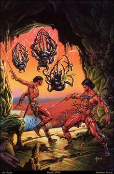 Joe Jusko - A Fighting Man of Mars. I like that Jusko used the spiders of Ghasta scene for the cover Fantasy Art Men, Fantasy Images, Fantasy Warrior, Caricature, John Carter Of Mars, Pop Culture Art, Alternative Art, Science Fiction Art, Pulp Art