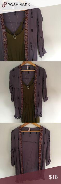 Exhilaration Purple Boho Open Kimono Exhilaration Boho Purple Kimono. Beautiful piece. Only worn a few times. In excellent condition. No flaws. Exhileration Tops