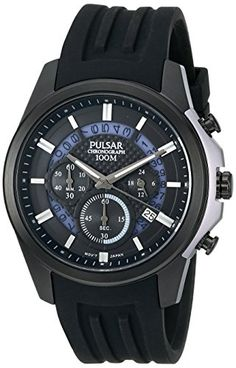 Men's Wrist Watches - Pulsar Mens PT3527 On The Go Analog Display Japanese Quartz Black Watch * You can find out more details at the link of the image.