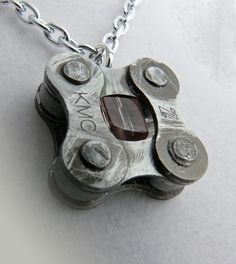 recycled metal bike jewelry purple cycling pendant. $23.00, via Etsy. For Granny Lee
