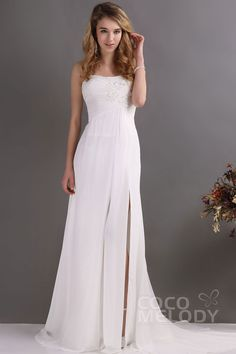Modern+Sheath-Column+Spaghetti+Strap+Sweep-Brush+Train+Chiffon+Ivory+Wedding+Dress+CWZT13008