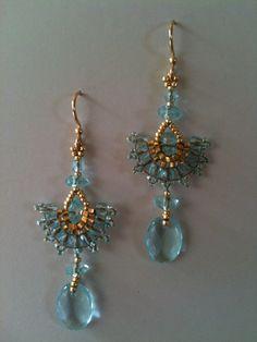Aqua and gold fan earrings by Jeka Lambert. 24K gold plated beads, glass beads, seed beads.