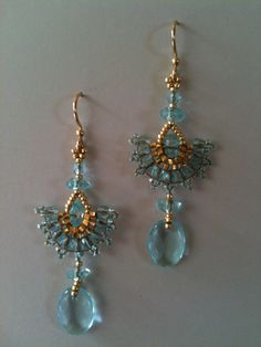 Aqua and gold fan earrings by Jeka Lambert.  24K gold plated beads, glass beads, seed beads.