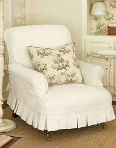 """Slipcovers - """"At decorator Lauren Ross's home in Austin, Tex., her love of creamy white fabrics and vintage textiles--as well as having four children--translates into slipcovers for every seat in the house, all given a couture level of detail. Slipcovers For Chairs, Slipcover Chair, Club Chairs, Lounge Chairs, Cottage Chic, French Cottage, White Fabrics, Soft Furnishings, Home Furniture"""