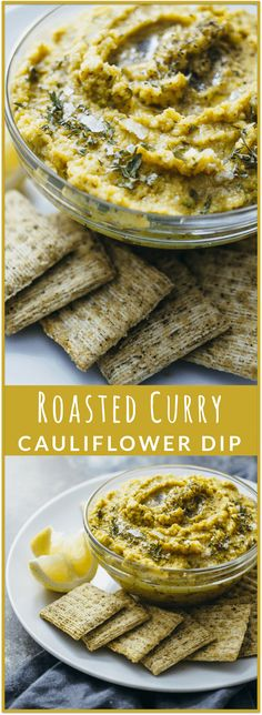 Roasted curry cauliflower dip - Dip into this amazing roasted CURRY cauliflower dip with crackers and chips! This recipe is healthy, vegan, easy to make, and a great addition for your next party. It tastes like hummus but isn't hummus! - savorytooth.com