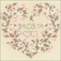 "All Heart Wedding Announcement Counted Cross Stitch Kit - 4.5"" x 4.5"" 25 Count"