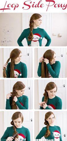 Loop Side Ponytail Hair Tutorial