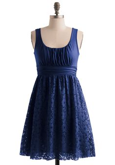 Blueberry Iced Tea Dress - Blue, Lace, A-line, Empire, Tank top (2 thick straps), Party, Summer, Show On Featured Sale, Short, Solid, Cocktail, Best Seller, Daytime Party, Top Rated