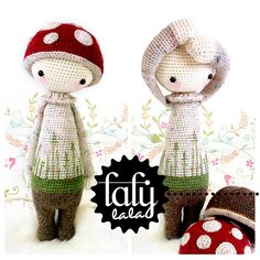 "Crochet Tutorials – Crochet Pattern Doll ""PAUL the toadstool"" – a unique product by lalylala on DaWanda"