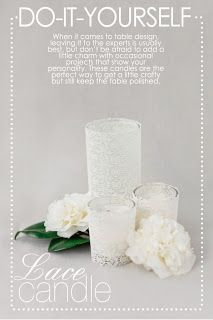 A Sign of the Times: Handmade Goodness: Lace covered Candles