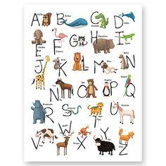 Spanish Animal Alphabet print. by Watotokids on Etsy, €18.00