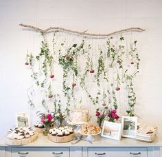 shower dessert table / floral backdrop / photo by delbarr moradi Baby Shower Fall, Floral Baby Shower, Bridal Shower, Floral Backdrop, Floral Garland, Birthday Party Tables, Festa Party, Diy Party Decorations, Backdrops