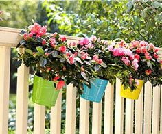 Flowers in buckets on fence - add color to different levels of garden
