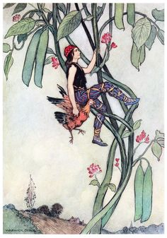 Jack […] seized the hen, and ran off with her. Warwick goble, from The fairy book, by Dinah Craik, London, 1913.
