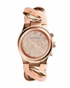 Michael Kors Mini Rose Golden Stainless Steel Runway Glitz Twist Watch. maybe my baby will like this one..