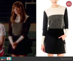 Rachel's grey colorblock sweater on Glee.  Outfit Details: http://wornontv.net/44024/ #Glee