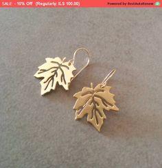 Leaf Earrings Earrings Gold Pendant Earrings by HilaAssaJewelry