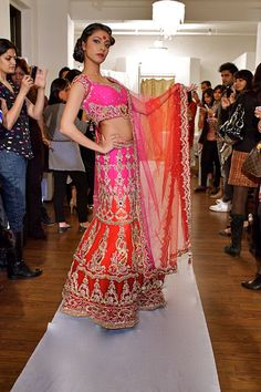 Pink and Orange Lengha