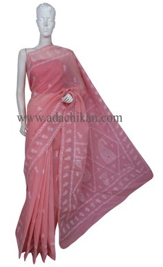 Ada #handembroidered #Peach #Cotton #Lucknowi #Chikan Saree with Blouse - A163131 - #AdaChikan