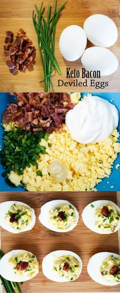 Simple Deviled Eggs with Bacon and Chives - A simple low carb recipe that is also delicious. And it's suitable for keto too!