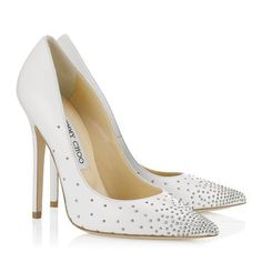White studded stiletto wedding shoes by Jimmy Choo; Featured Shoes: Jimmy Choo