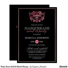 Pink, Rose Gold & Black Masquerade Sweet 16 Party Card ABOUT THIS DESIGN. Pink, Rose Gold & Black Masquerade Sweet 16 Party Invitation Template. Create your own trendy masquerade party invitations by customizing this classy design. This theme, with an ornate metallic pink mask image and modern typography is perfect for any stylish birthday girl. Click to personalize and change the template text and colors, choose from a large variety of paper textures, border shapes and colors to make these…