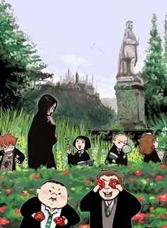 Ron Weasley, Severus Snape, Pansy Parkinson, Draco Malfoy, Hermione Granger, Crabbe, and Goyle #harrypotter #fanart