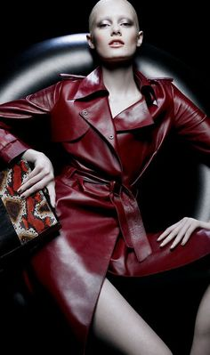 Like: leather-fashionista June 20 2016 at Leather Trench Coat, Leather Jacket, Trench Coats, Leather And Lace, Red Leather, Burgundy Fashion, Strike A Pose, Leather Fashion, Mantel